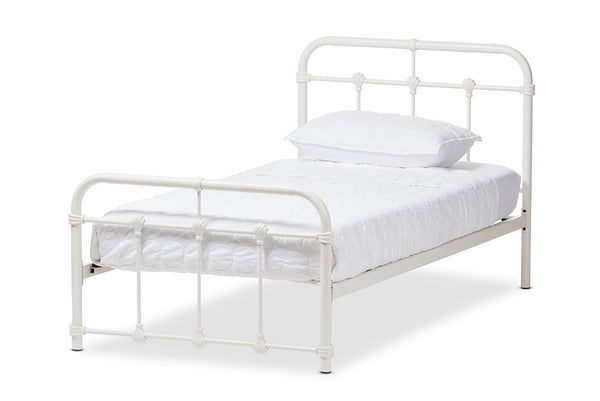 Mandy Vintage Industrial White Finished Metal Twin Size Platform Bed