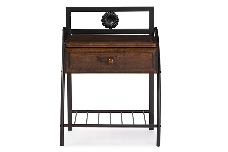 Jevenci Vintage Industrial Black Finished Metal Nightstand