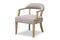 Macee French Vintage Cottage Weathered Oak Finish Wood and Beige   Accent Chair