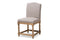 Paige French Vintage Cottage Weathered Oak Finish Wood and Beige   Dining Side Chair