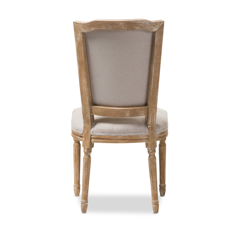 Cadencia French Vintage Cottage Weathered Oak Finish Wood and Beige   Dining Side Chair