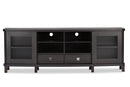 Walda 70-Inch Dark Brown Wood TV Cabinet with 2 Sliding Doors and 2 Drawers