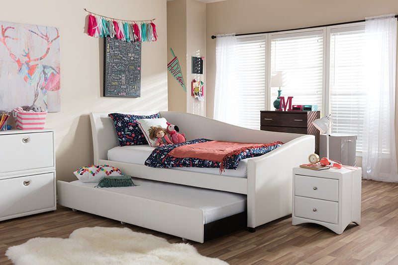 Vera   White   Leather Upholstered Curved Twin Daybed with Roll-Out Trundle Guest Bed