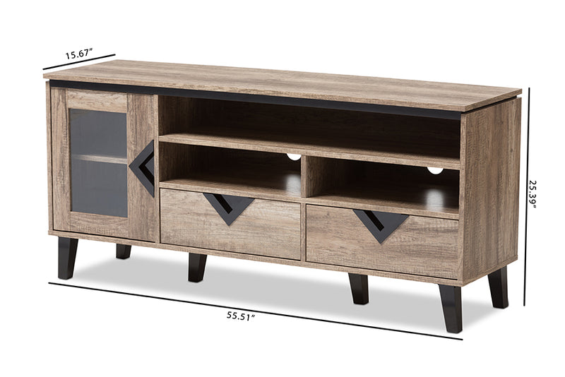 Cardiff   Light Brown Wood 55-Inch TV Stand