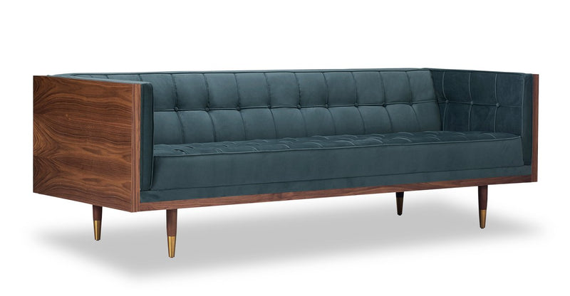 Woodrow Box Sofa, Walnut/Neptune Velvet