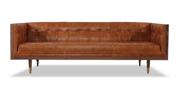 Woodrow Box Sofa, Walnut/Manitou Distressed Leather