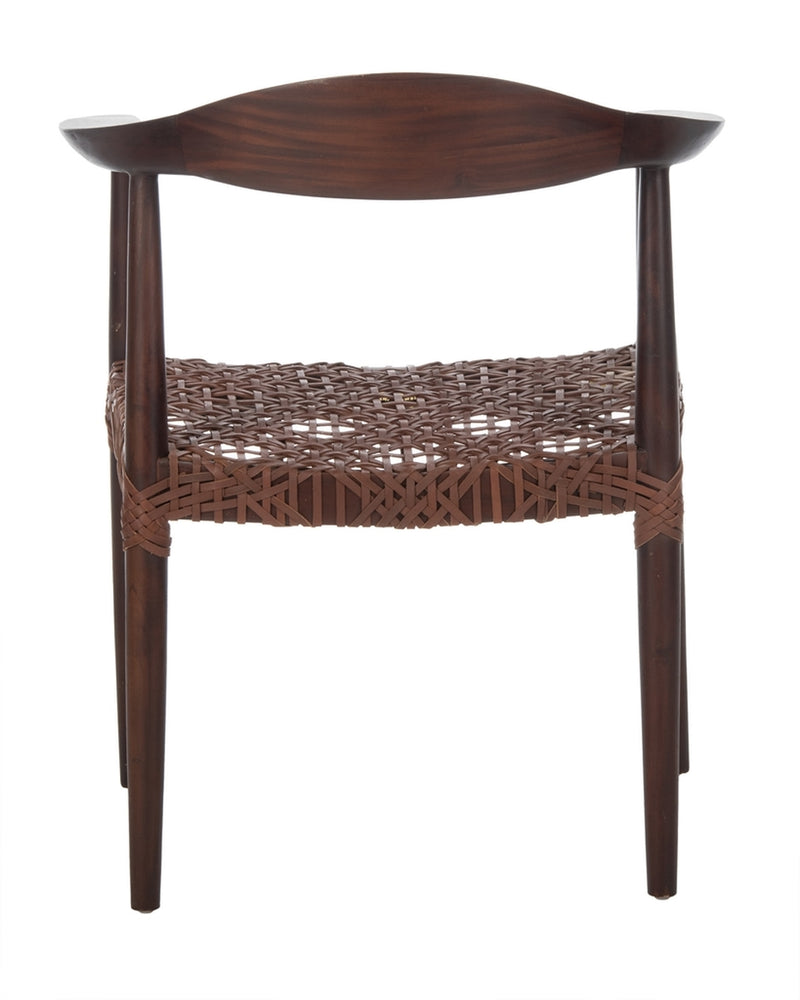 Juneau Leather Woven Accent Chair