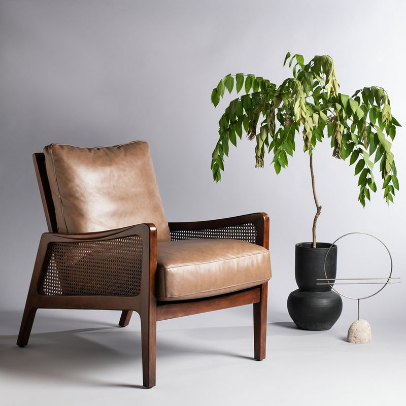 Motly Wood Frame Leather Accent Chair
