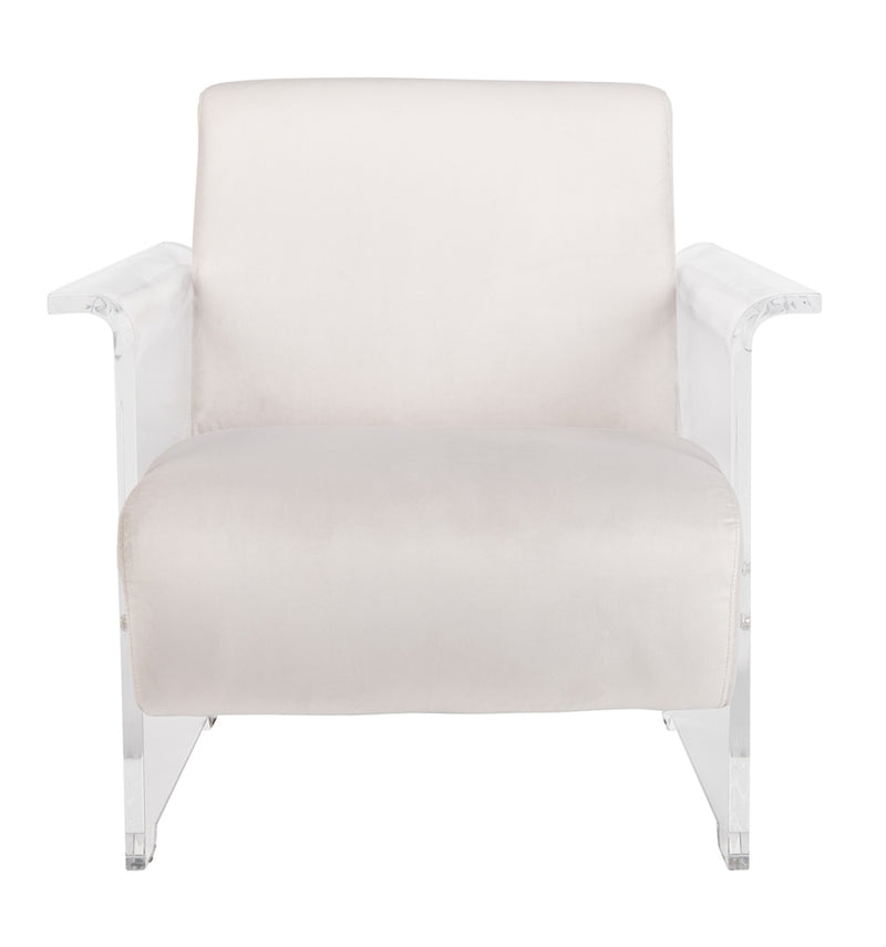 Cloe Grey Velvet Acrylic Club Chair
