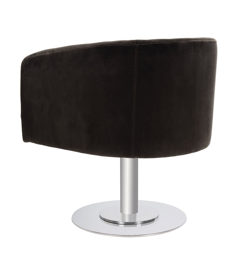 Muva Velvet Swivel Tub Chair - Black