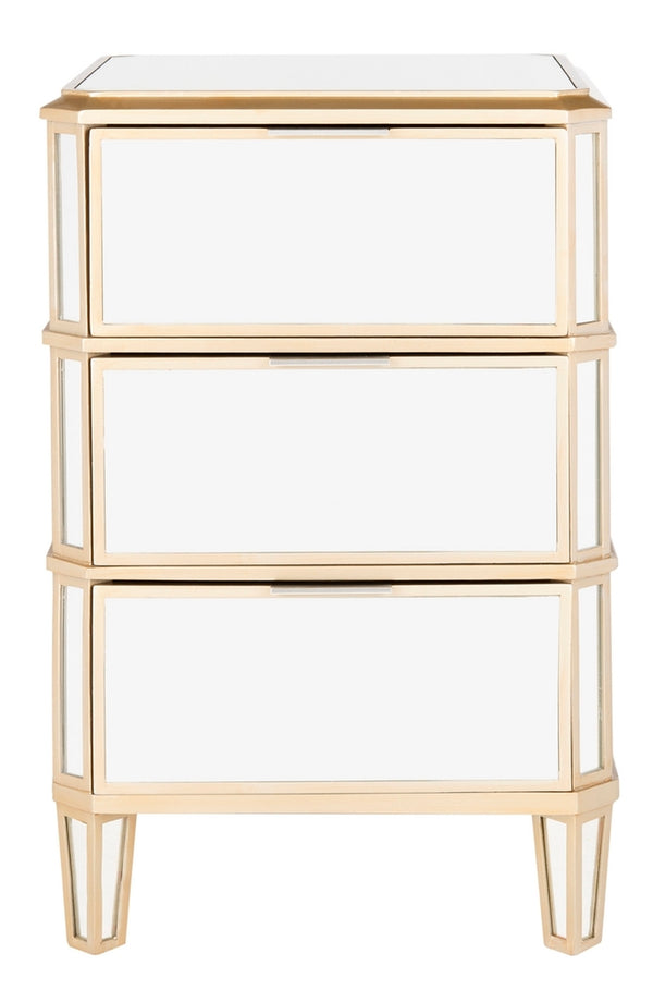 Giana 3 Drawer Mirrored Nightstand