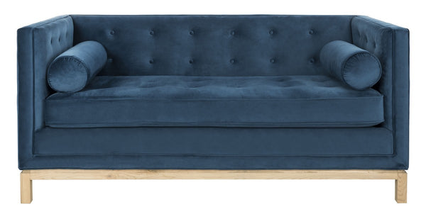 Elaina Velvet Tufted Sofa With Arm Pillows