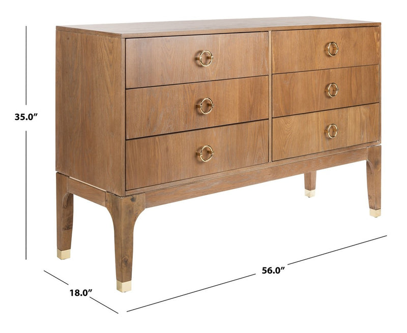 Cora 6 Drawer Contemporary Dresser Oak
