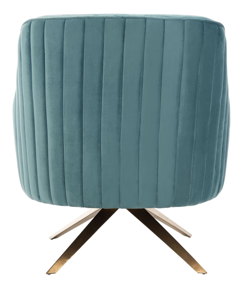 Lola Blue Plated Swivel Chair