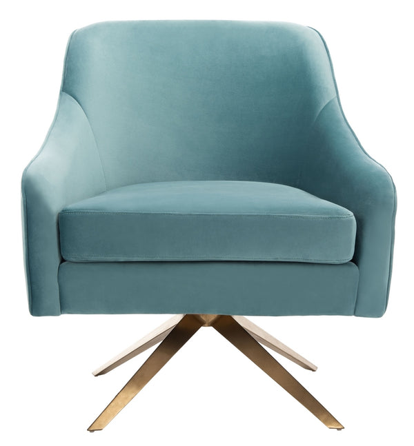 Lola Blue Channeled Velvet Accent Chair
