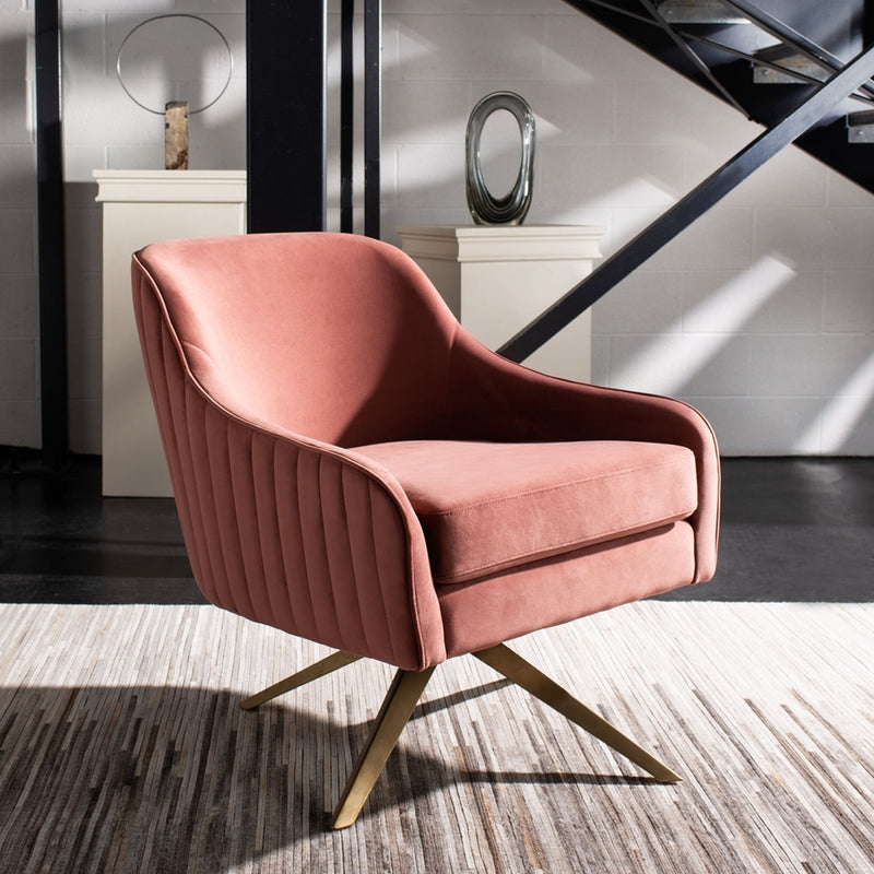 Lola Pink Plated Swivel Chair