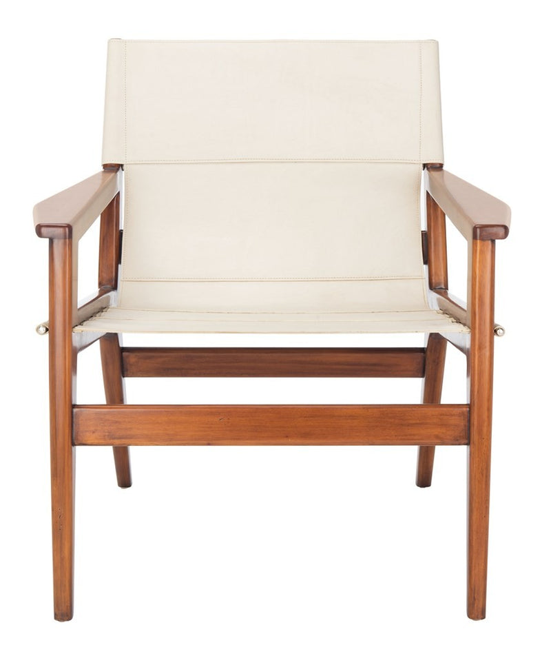 Collin White Leather Sling Chair