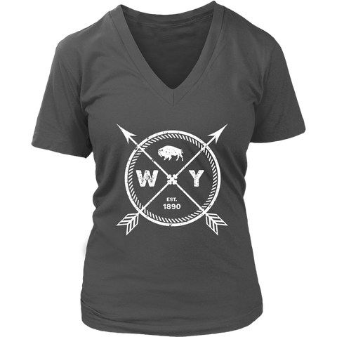 Women's Wyoming Pride V-Neck T-Shirt - Est 1890 Arrows State Buffalo Gift