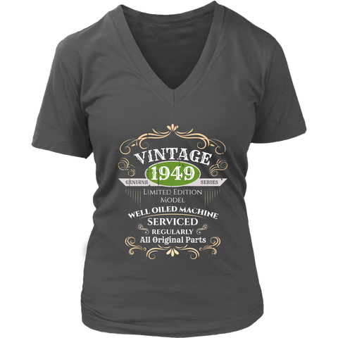 Women's Vintage 1949 69th Birthday V-Neck T-Shirt Gift