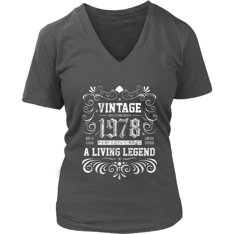 Women's 40th Birthday Gift - Vintage 1978 V-Neck T-Shirt
