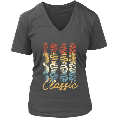Women's 50th Birthday Gift Vintage 1968 Retro Classic V-Neck T-Shirt
