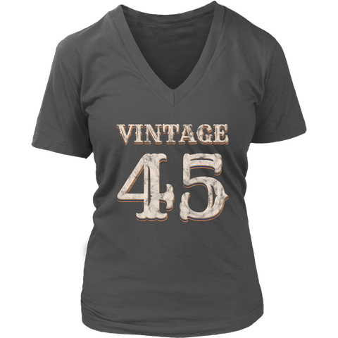 Women's Vintage 45 V-Neck Tshirt 73rd Birthday Gift for 73 Year Old