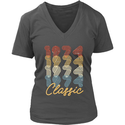 Women's 44th Birthday Gift Vintage 1974 Retro Classic V-Neck T-Shirt