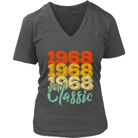 Women's Vintage 1968 Classic 50th Retro Birthday V-Neck T-Shirt