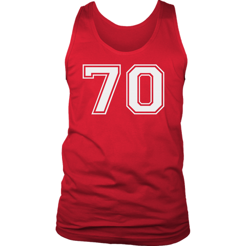 Men's Vintage Sports Jersey Number 70 Tank Top for Fan or Player #70