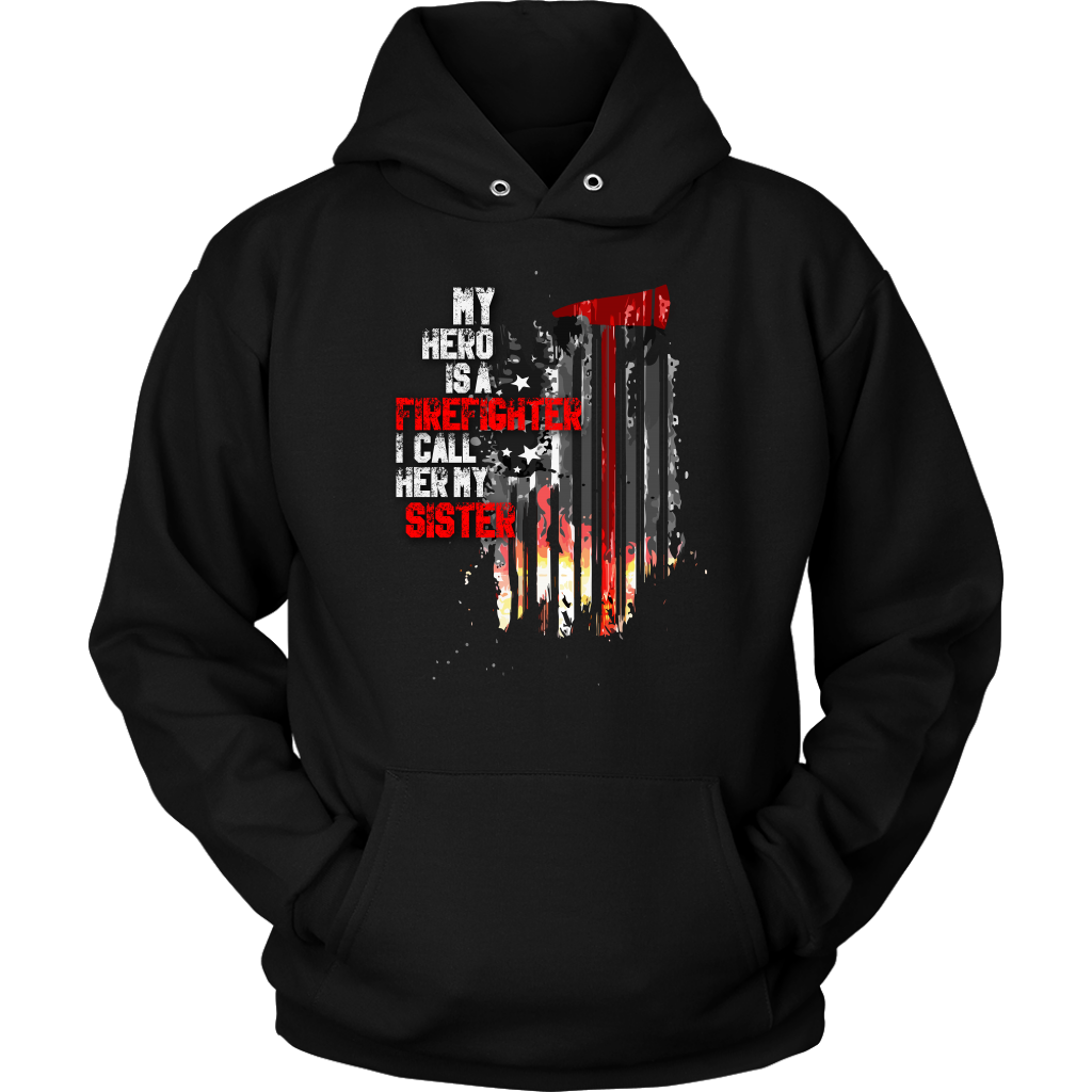 Thin Red Line American Flag Firefighter Sister Hoodie