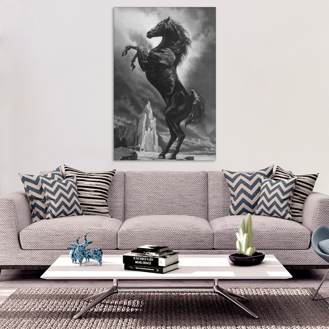 Rearing Black Stallion Canvas Wall Art