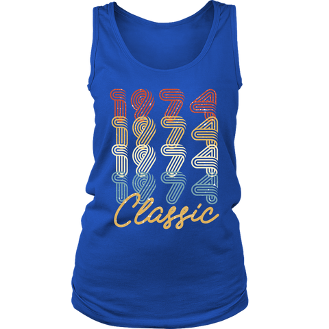 Women's 44th Birthday Gift Vintage 1974 Retro Classic Tank Top