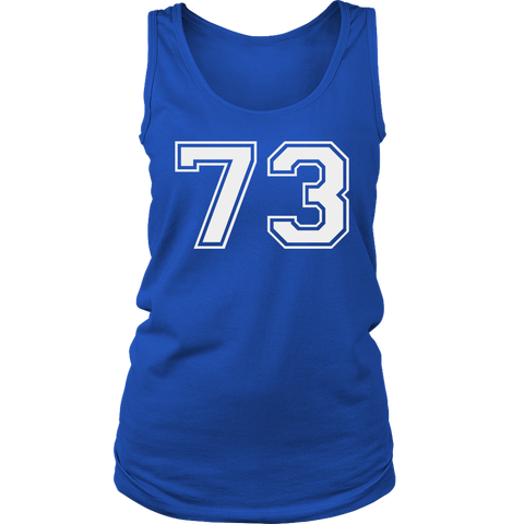 Women's Vintage Sports Jersey Number 73 Tank Top for Fan or Player #73