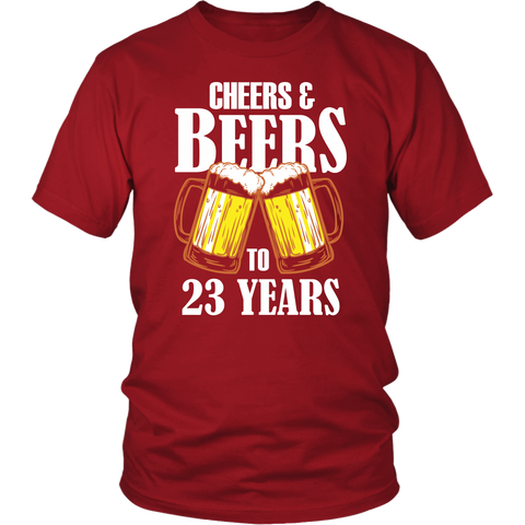 Men's Cheers and Beers to 23 Years T-Shirt - 23rd Birthday Gift