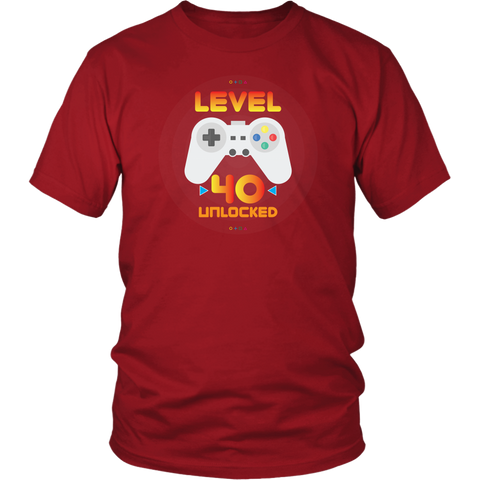 Men's 40th Birthday Gift - Level 40 Unlocked Funny Gamer T-Shirt