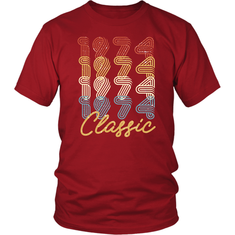 Men's 44th Birthday Gift Vintage 1974 Retro Classic T-Shirt