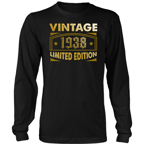 Men's Vintage 1938 80 Year Old Birthday Gift Long Sleeve T-Shirt