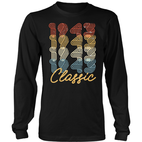 Men's 75th Birthday Gift Vintage 1943 Retro Classic Long Sleeve T-Shirt