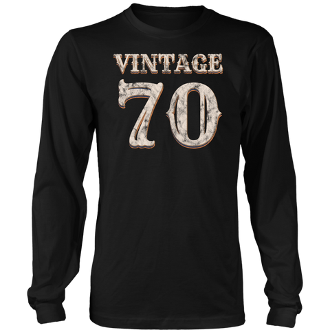 Men's Vintage 70 Long Sleeve Tshirt 48th Birthday Gift for 48 Year Old