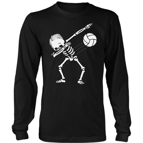 Men's Dabbing Skeleton Volleyball Long Sleeve T-Shirt