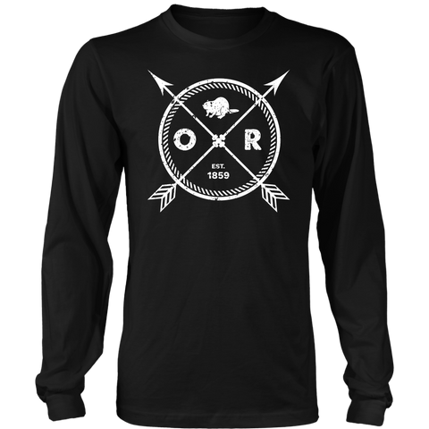 Men's Oregon Long Sleeve T-Shirt - Est 1859 Arrows State Beaver Gift