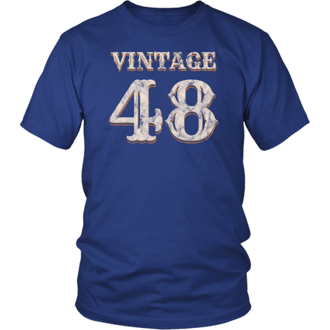 Men's Vintage 48 Tshirt 70th Birthday Gift for 70 Year Old
