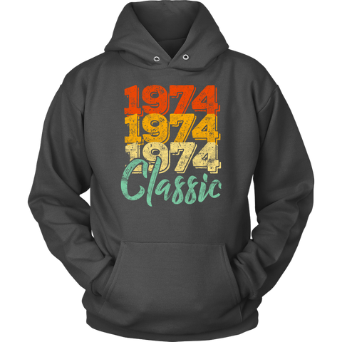 Vintage 1974 Classic 44th Retro Birthday Hoodie