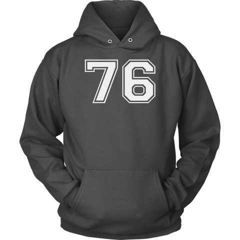 Vintage Sports Jersey Number 76 Hoodie for Fan or Player #76