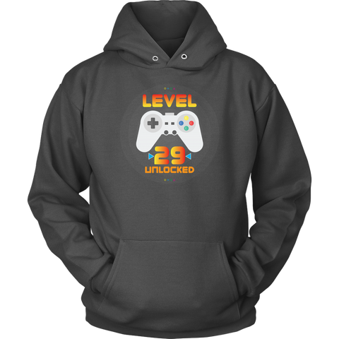 29th Birthday Gift - Level 29 Unlocked Funny Gamer Hoodie