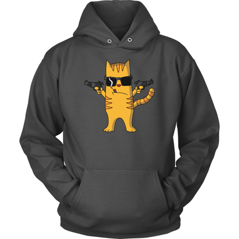 Cat with Gun Hoodie - Funny Cat Lovers Gift
