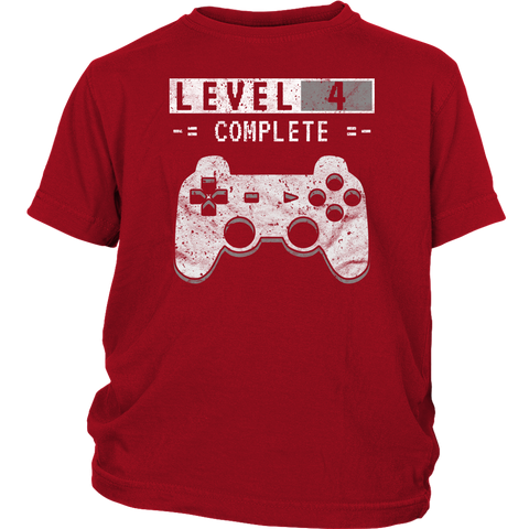 Kid's Level 4 Complete T-Shirt 4th Video Gamer Birthday Gift