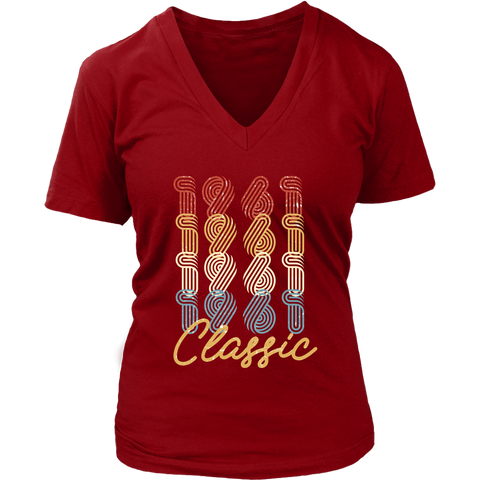 Women's 57th Birthday Gift Vintage 1961 Retro Classic V-Neck T-Shirt