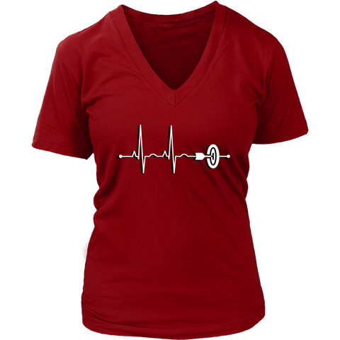 Women's Darts Heartbeat V-Neck T-Shirt - Sports Gift