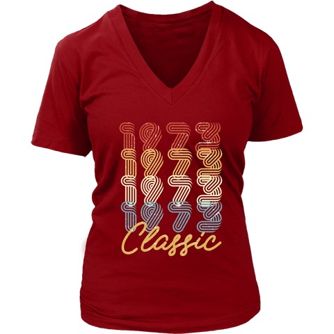 Women's 45th Birthday Gift Vintage 1973 Retro Classic V-Neck T-Shirt